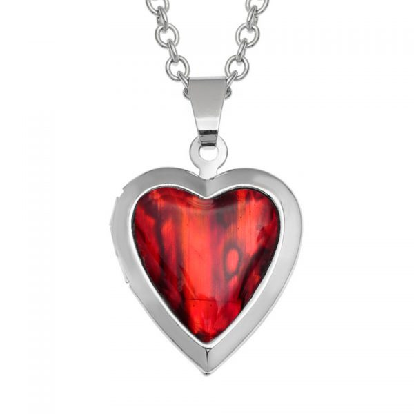 Paua Shell Red Heart Locket Necklace Pendant Rhodium Chain Tide Jewellery Talbot Fashions Organic New Zealand Sea Opal