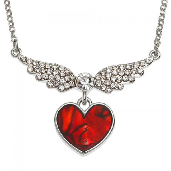 Paua Shell Red Winged Heart Necklace Pendant Rhodium Chain Tide Jewellery Talbot Fashions Organic New Zealand Sea Opal