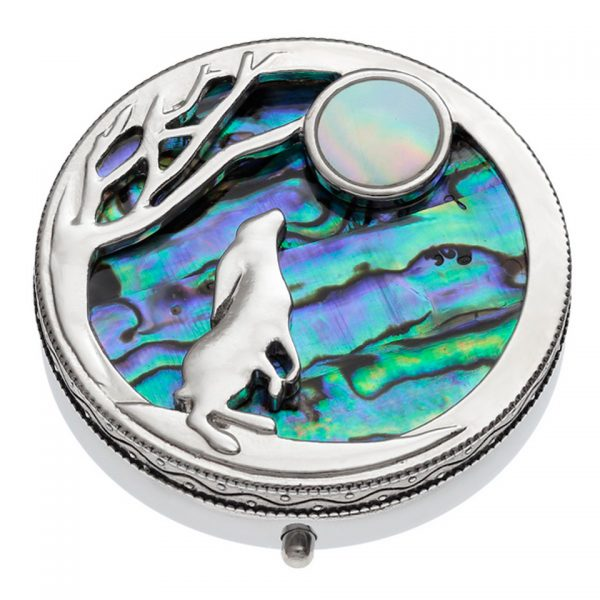 Paua Shell Blue Purple Green Pink Hare & Moon Pill Box Rhodium Tide Jewellery Talbot Fashions Organic New Zealand Sea Opal