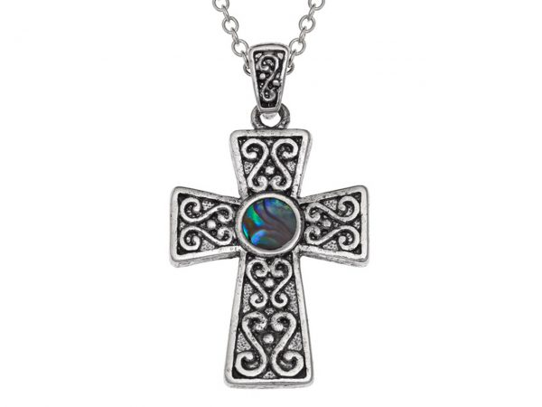 Paua Shell Purple Blue Green Pink Celtic Cross Pendant Necklace Rhodium Chain Tide Jewellery Talbot Fashions Organic New Zealand Sea Opal