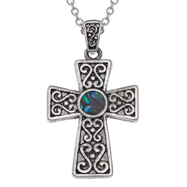 Paua Shell Purple Blue Green Pink Celtic Cross Pendant Necklace Rhodium Chain Tide Jewellery Talbot Fashions Organic New Zealand Sea Opal