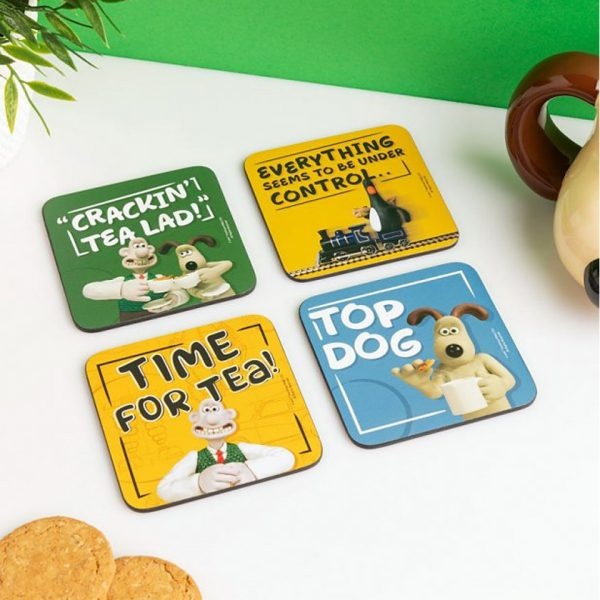Wallace & Gromit Coasters Set of 4 Half Moon Bay Aardman Drinkware Kitchenware Home Decor Cartoon