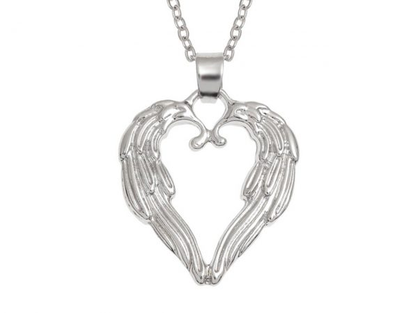 Wish Jewellery Angel Wings Heart Rhodium Pendant Necklace Chain Talbot Fashions