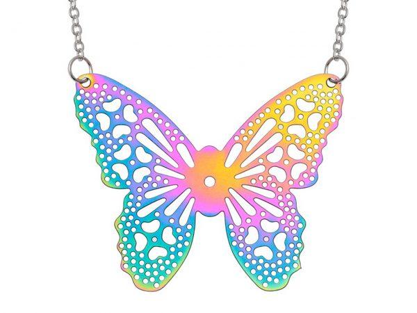 Wish Jewellery Iridescent Rainbow Butterfly Filigree Heart Rhodium Pendant Necklace Chain Talbot Fashions