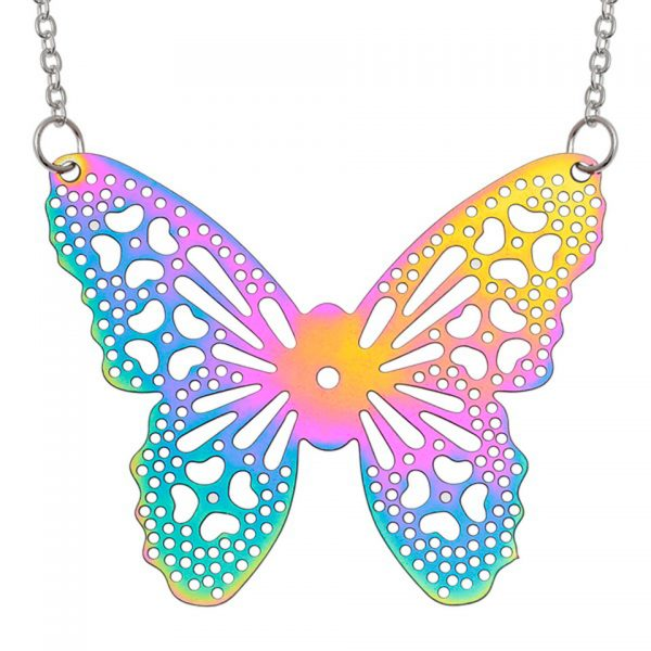 Wish Jewellery Iridescent Rainbow Butterfly Filigree Heart Rhodium Pendant Necklace Chain Talbot Fashions