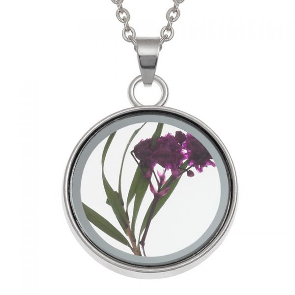 Wish Jewellery Pressed Dried Purple Flower Charm Rhodium Pendant Necklace Chain Talbot Fashions Plant Nature