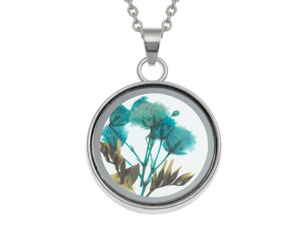 Wish Jewellery Pressed Dried Blue Flower Charm Rhodium Pendant Necklace Chain Talbot Fashions Plant Nature
