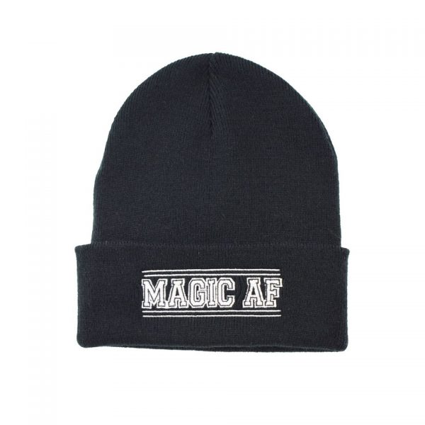 Magic AF Embroidered Knitted Folded Beanie Hat Alternative Gothic Darkside Clothing Fashion