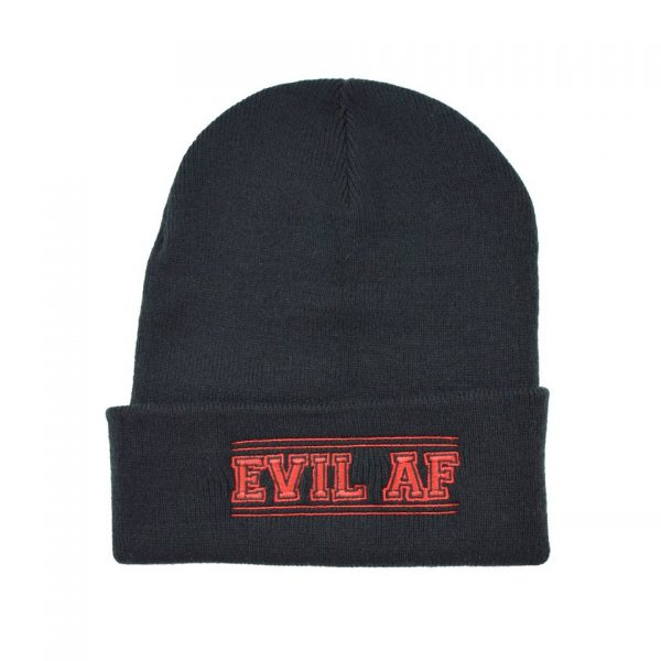 Evil AF Embroidered Knitted Folded Beanie Hat Alternative Gothic Darkside Clothing Fashion