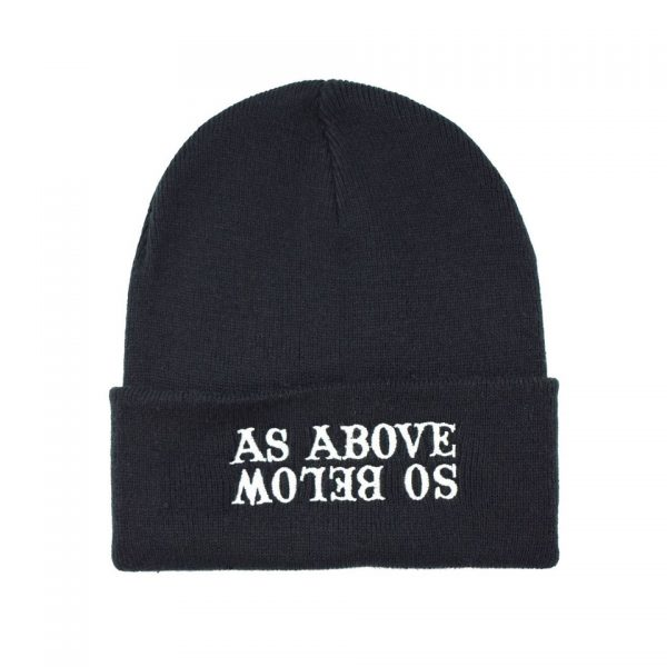 As Above So Below Embroidered Knitted Folded Beanie Hat Alternative Gothic Darkside Clothing Fashion