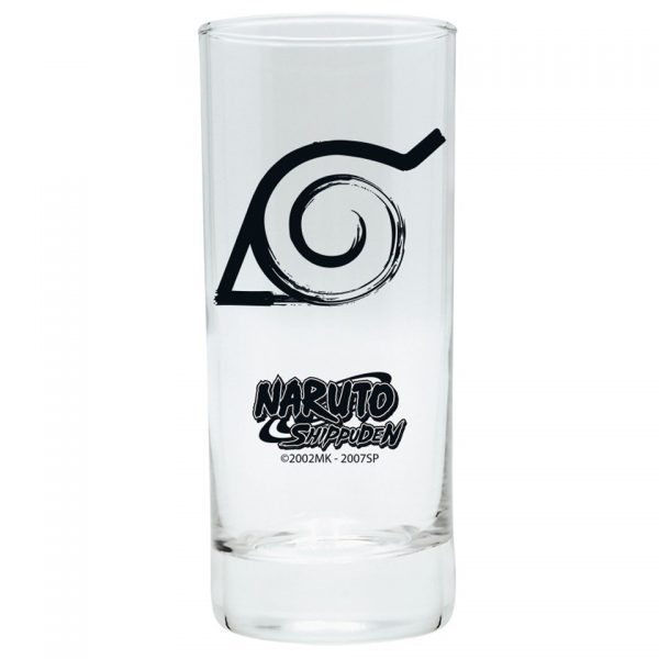 Naruto Shippuden Kohona Tall Drinking Glass Simple Minimalist Black Kitchenware Drinkware Manga Anime Alternative Official Merchandise Collectors