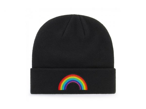 Rainbow Embroidered Knitted Folded Beanie Hat Alternative Gothic Extreme Largeness Clothing Fashion