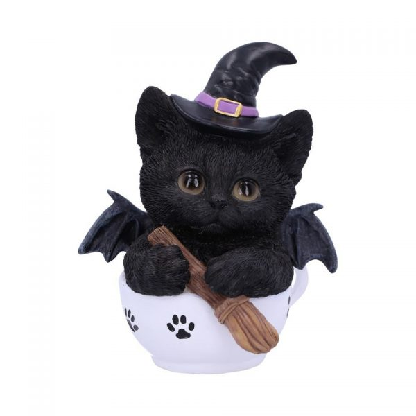 Kit-Tea Cat Ornament Figure Home Decor Kitten Witch Familiar Broomstick Bat Tea Occult Spiritual Nemesis Now