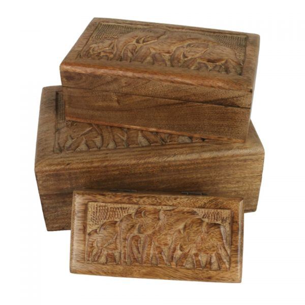 Carved Engraved Elephant Wooden Boxes Stacking Box Mango Wood Indian Nesting Small Medium Large