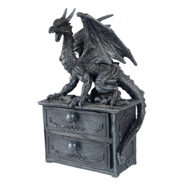 Dragon 2 Drawer Chest Trinket Box Home Decor Distressed Antique Fantasy Gothic J J Vaillant Storage