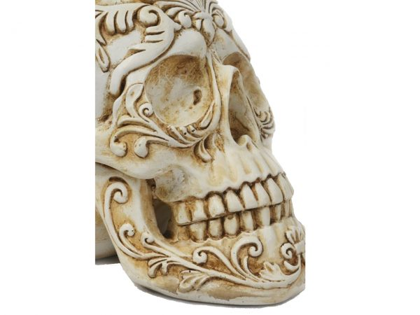 White Leaf Skull Filigree Ornate Vines Home Decor Distressed Antique Gothic J J Vaillant