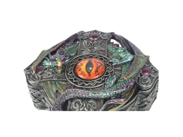 Dragon Red Eye Box Cross Celtic Trinket Home Decor Distressed Antique Fantasy Gothic J J Vaillant Storage