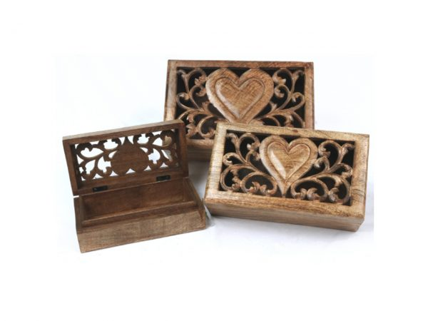 Carved Engraved Filigree Cut Out Heart Wooden Boxes Stacking Box Mango Wood Indian Nesting Small Medium Large