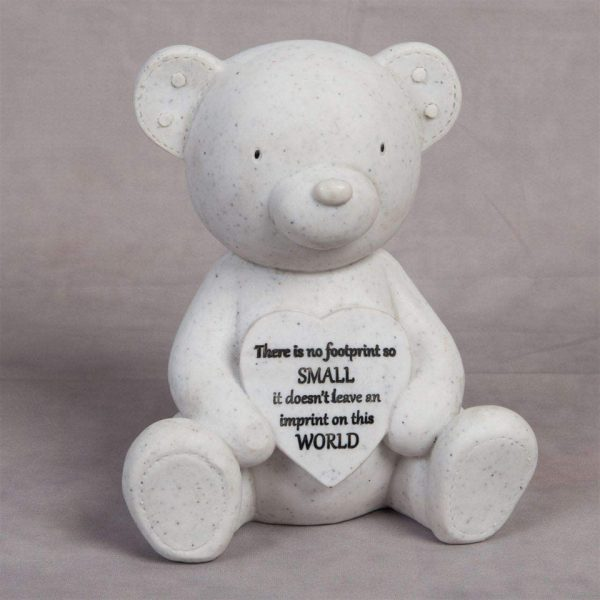 Teddy & Heart Memorial Plaque Shape Resin Stone Widdop Graveside Gift Bear