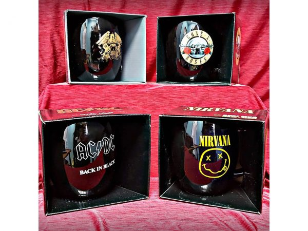 Guns N' Roses Nirvana AC/DC Queen Oval Mug Official Band Merch Bullet Smiley Back In Black Gold Crest Logo Iconic Music Rock Classic Retro Nostalgia