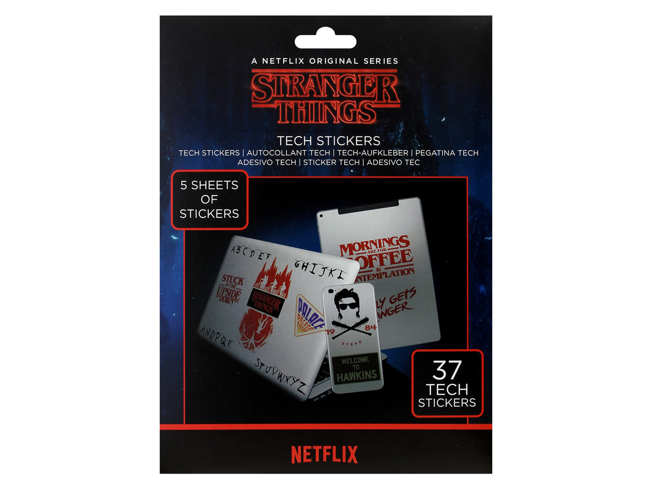 Official Stranger Things Tech Stickers Pack Phone Laptop Tablet Demogorgon Hawkins Mind Flayer Netflix Pyramid International Stationary Personalised Novelty Gift Home Decor