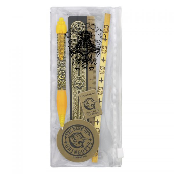 Harry Potter Gringotts Stationary Set Wizarding Bank Wizard Gold Coin Pen Pencil Eraser Sharpener Ruler Case School Office Official