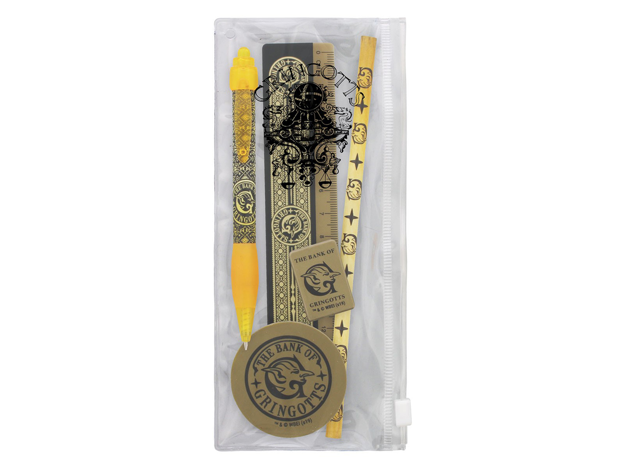 Harry Potter Gringotts Stationary Set Wizarding Bank Wizard Gold Coin Pen Pencil Eraser Sharpener Ruler Case School Office Official
