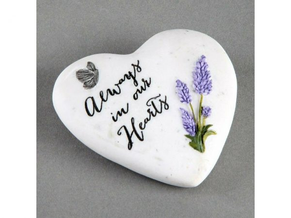 Always In Our Hearts Small Memorial Plaque Heart Shape Resin Stone Widdop Graveside Gift Lavender Butterfly