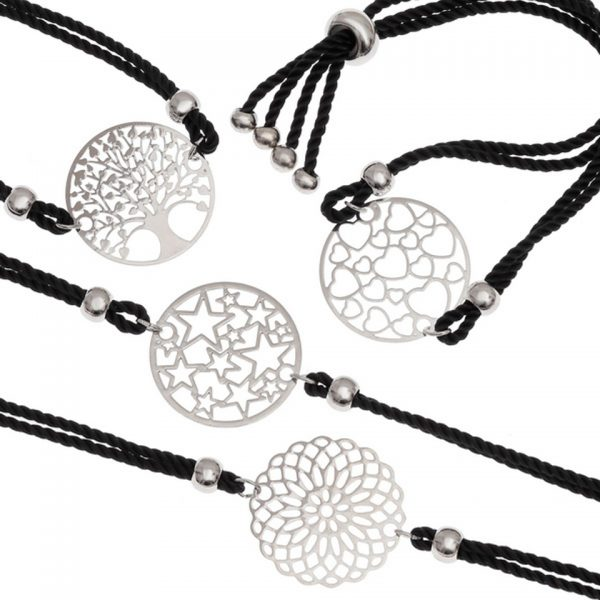 Adjustable Metal Filigree Cord Bracelet Laser Cut Black Cotton Thong Tree Of Life Flower Hearts Stars Wish Jewellery