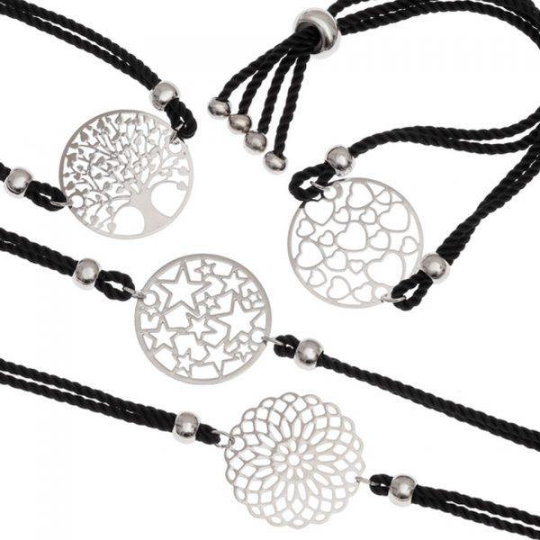 Adjustable Metal Filigree Cord Bracelet Laser Cut Black Cotton Thong Tree Of Life Flower Hearts Stars Wish Jewellery