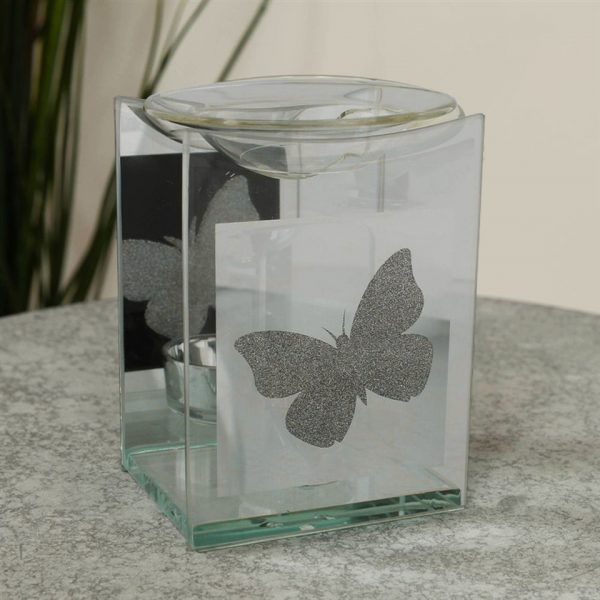 Butterfly Square Oil Burner Angel Tea Light Candle Holder Memorial Shape Mirror Glass Widdop Hestia Graveside Gift