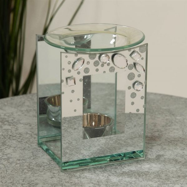Crystal Square Oil Burner Angel Tea Light Candle Holder Memorial Shape Mirror Glass Widdop Hestia Graveside Gift