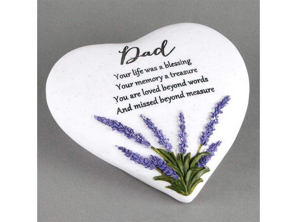 Dad Memorial Plaque Heart Shape Resin Stone Widdop Graveside Gift Lavender Butterfly