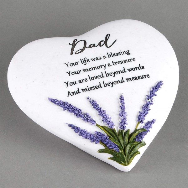 Dad Memorial Plaque Heart Shape Resin Stone Widdop Graveside Gift Lavender Butterfly