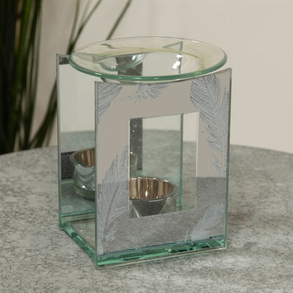 Feather Square Oil Burner Angel Tea Light Candle Holder Memorial Shape Mirror Glass Widdop Hestia Graveside Gift