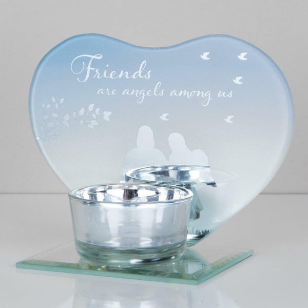 Friends Angel Tea Light Candle Holder Memorial Plaque Heart Shape Mirror Glass Widdop Graveside Gift