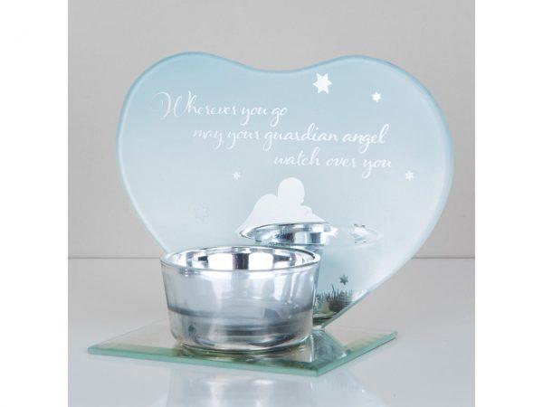 Guardian Angel Tea Light Candle Holder Memorial Plaque Heart Shape Mirror Glass Widdop Graveside Gift