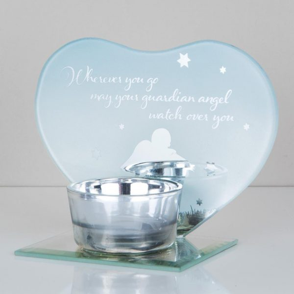 Guardian Angel Tea Light Candle Holder Memorial Plaque Heart Shape Mirror Glass Widdop Graveside Gift