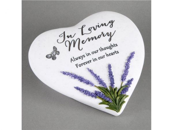 In Loving Memory Memorial Plaque Heart Shape Resin Stone Widdop Graveside Gift Lavender Butterfly