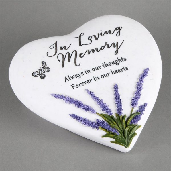 In Loving Memory Memorial Plaque Heart Shape Resin Stone Widdop Graveside Gift Lavender Butterfly