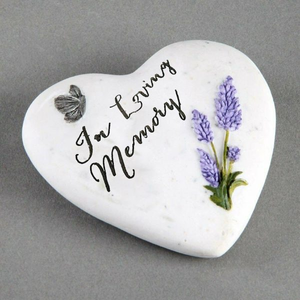 In Loving Memory Small Memorial Plaque Heart Shape Resin Stone Widdop Graveside Gift Lavender Butterfly