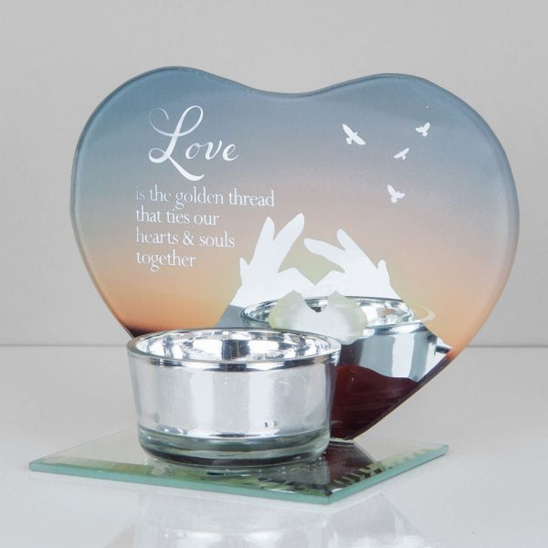 Love Sunset Angel Tea Light Candle Holder Memorial Plaque Heart Shape Mirror Glass Widdop Graveside Gift