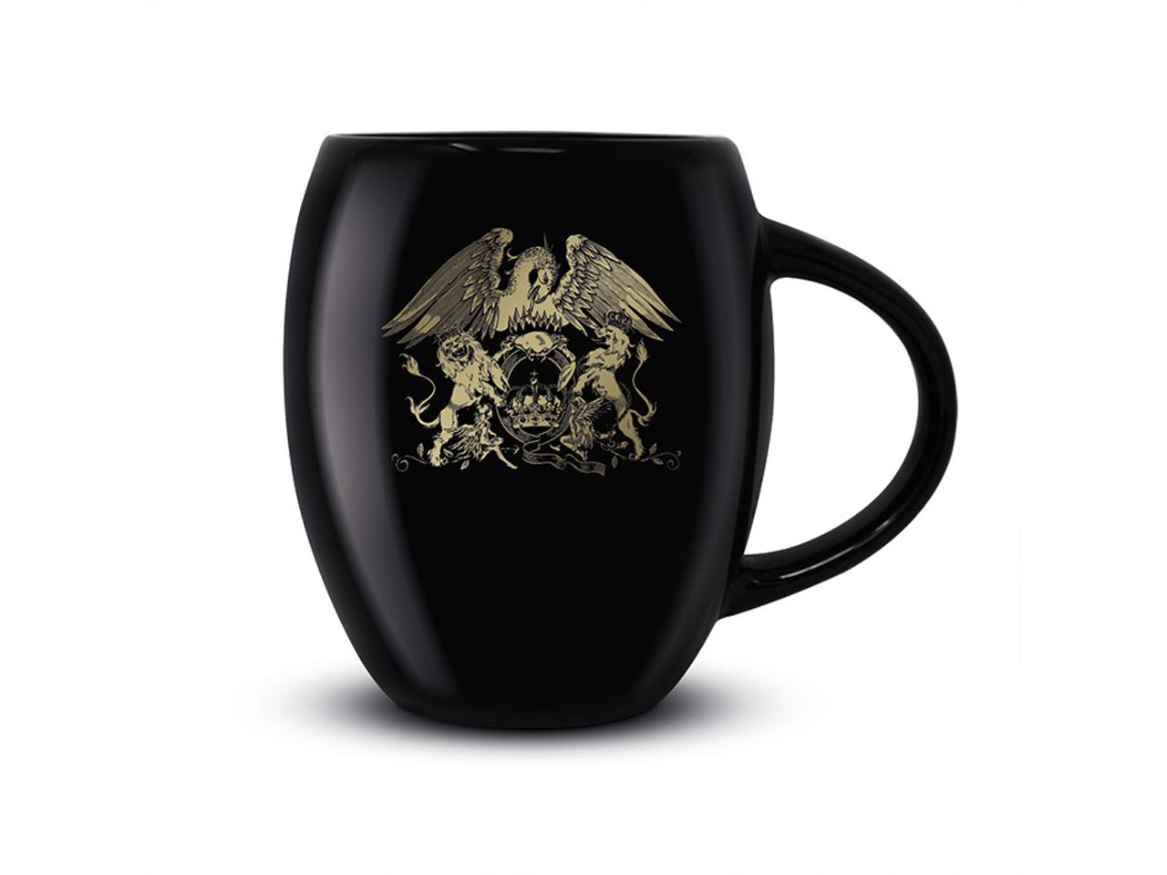 Queen Black Oval Mug Official Band Merch Gold Crest Logo Iconic Music Rock Classic Retro Nostalgia