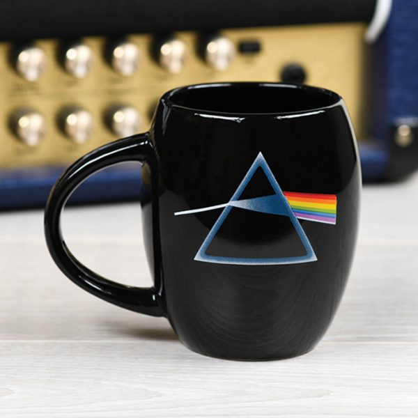 Pink Floyd Black Oval Mug Official Band Merch Dark Side Of The Moon Logo Iconic Music Rock Classic Retro Nostalgia