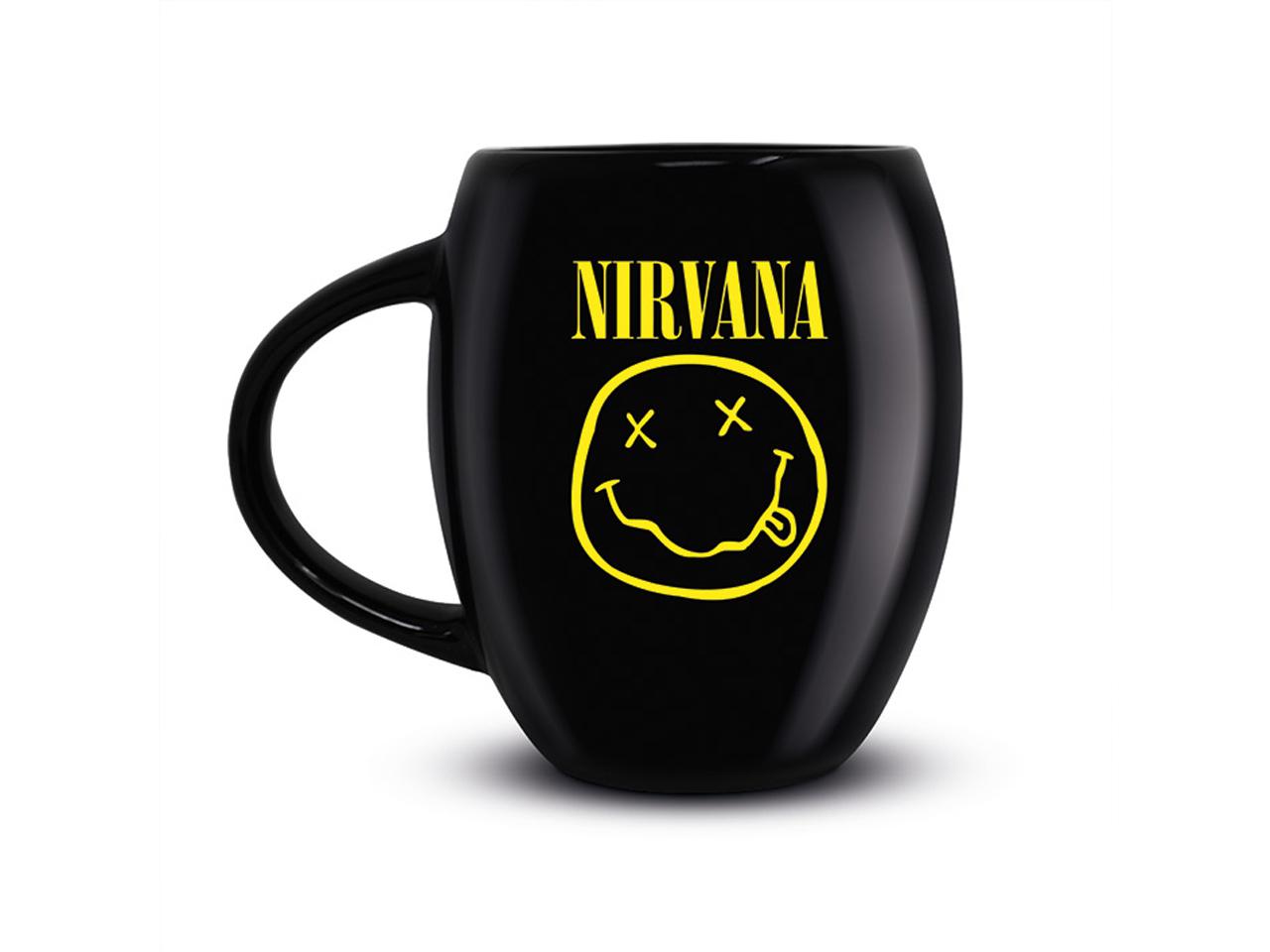 Nirvana Black Oval Mug Official Band Merch Smiley Logo Iconic Music Rock Classic Retro Nostalgia