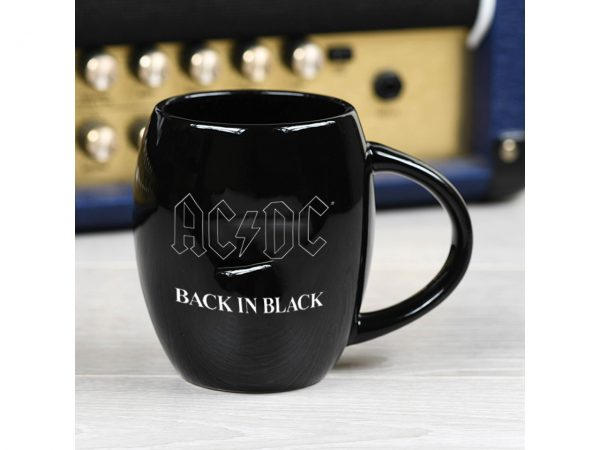 AC/DC Black Oval Mug Official Band Merch Back In Black Logo Iconic Music Rock Classic Retro Nostalgia