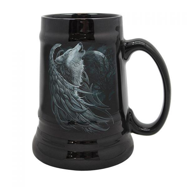 Spiral Wolf Spirit Ceramic Stein Mug Black Magic Occult Gothic Angel Tankard