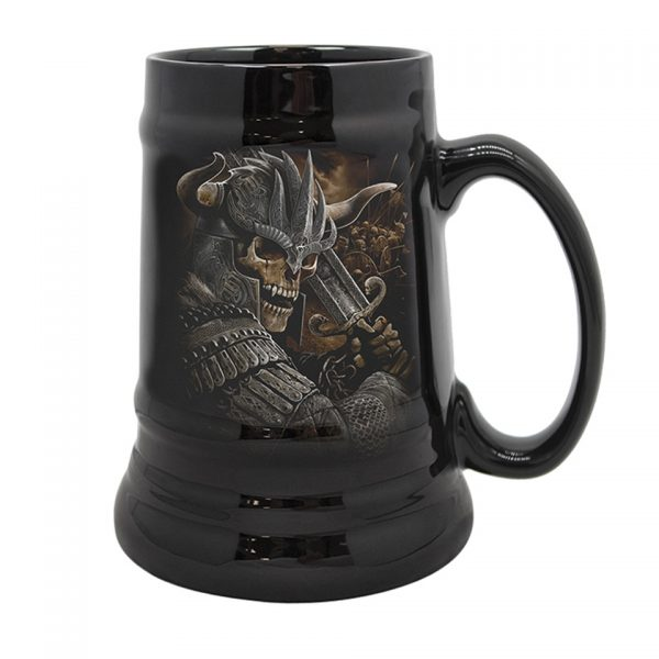 Spiral Viking Warrior Ceramic Stein Mug Skeleton King Skull Reaper Tankard Pyramid International