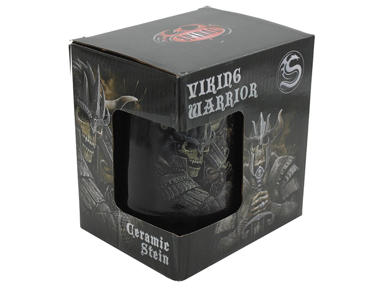 Spiral Viking Warrior Ceramic Stein Mug Skeleton King Skull Reaper Tankard Pyramid International