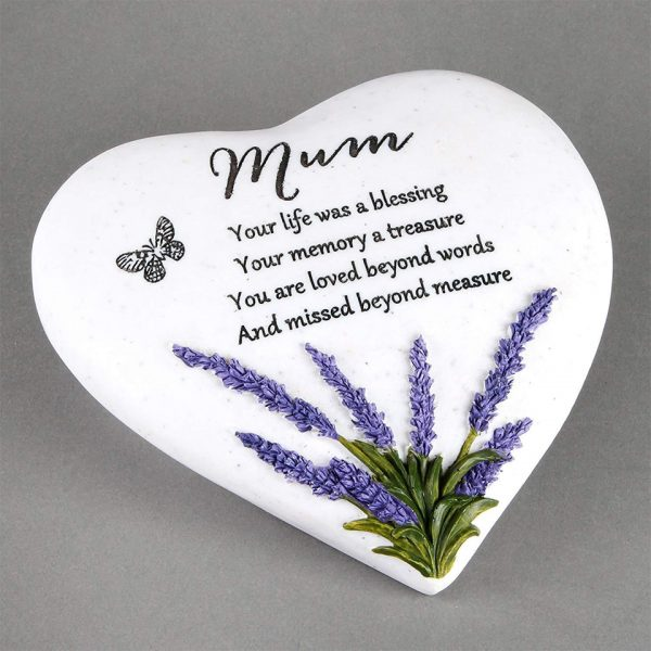 Mum Memorial Plaque Heart Shape Resin Stone Widdop Graveside Gift Lavender Butterfly